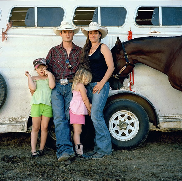 Keith and Ileah Roquemore, with daughters Raci and Riata and horse D.H., Mendocino County Fair Rodeo, Boonville, Mendocino County, 2011