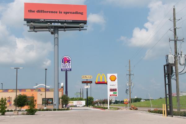 """Eve Fowler, """"it is so, is it so,"""" 10 billboards, Houston, TX, 2014."""