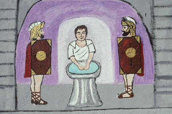 Pontius Pilate washing his hands, Manuel G. Cruz, Fresno St. by Cesar Chavez, LA, 2001