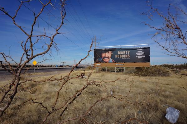 "Jeremy Shaw, ""Marty Robbins Biggest Hits,"" 10 billboards, El Paso, TX, 2015."