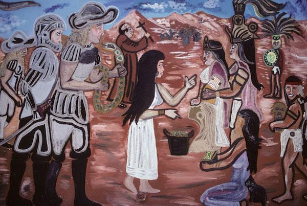 Cafe Monctezuma, Bernal at Cesar Chavez, 2007. 1981 Mural by Manuel G. Cruz, LA
