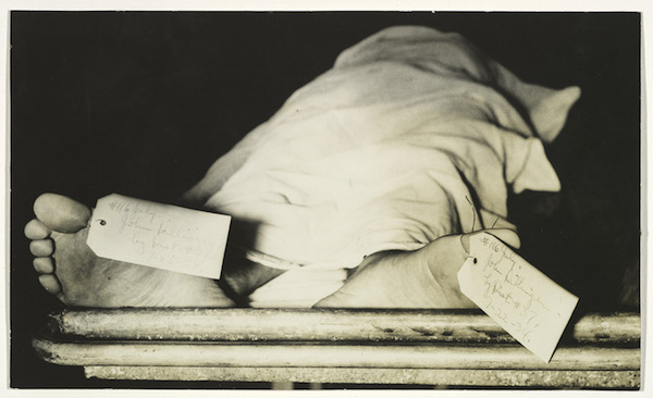 John Dillinger's feet at a Chicago morgue, photographed by an unknown American, 1934