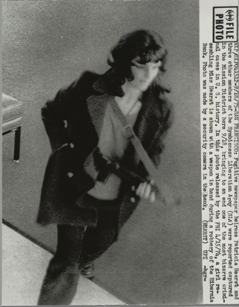Patricia Hearst robbing Hibernia Bank in San Francisco, caught by a security camera in 1974
