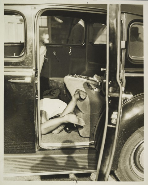 """Automobile Murder Scene,"" by an unknown American photographer, ca. 1935"