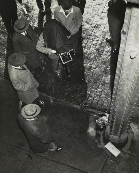 """""""Human Head Cake Box Murder,"""" by Arthur Fellig, a.k.a. Weegee, ca. 1940"""