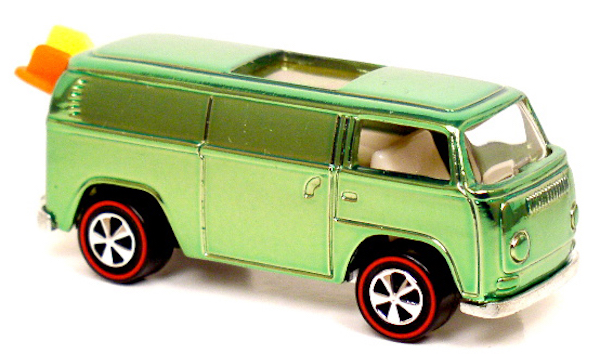 "In the late 1960s, the VW ""Beach Bomb"" bus, complete with tiny plastic surfboards, made its way into Mattel's Hot Wheels."
