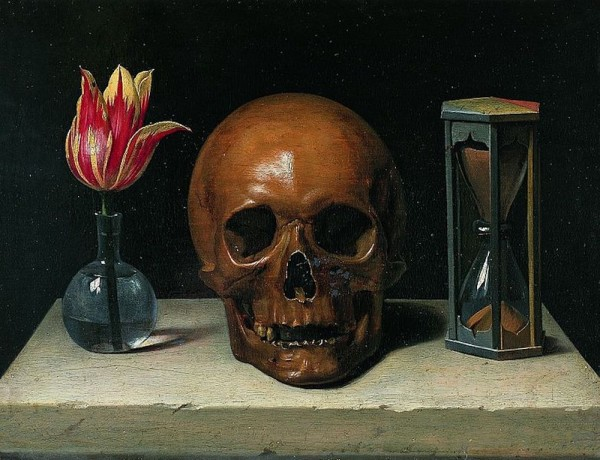 Still-life with a skull, vanities painting.