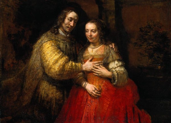 Portrait of a Couple as Isaac and Rebecca, known as The Jewish Bride, Rembrandt Harmensz van Rijn, c. 1665-c. 1669. Museum of the Netherlands.