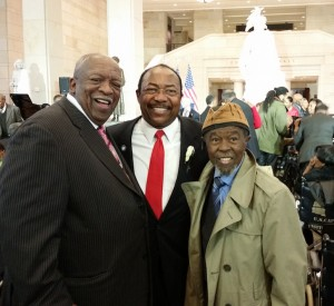 Saul Lankster (center) with Martin Luther King's advisor and friend Rev. Harold Middlebrook (left) and foot soldier Jimmy Webb (right). Courtesy of Saul Lankster.