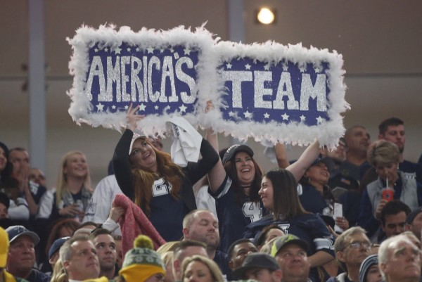 "Dallas Cowboys fans toasting ""America's Team"" during the first half of a divisional playoff game between the Cowboys and the Green Bay Packers on Jan. 15 in Arlington, Texas. Photo by Michael Ainsworth/Associated Press."