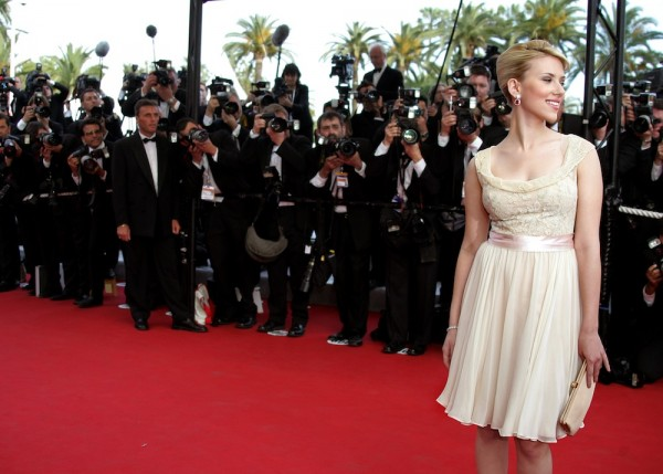 "U.S. actress Scarlett Johansson poses during red carpet arrivals for screening of ""Match Point"" at ..."