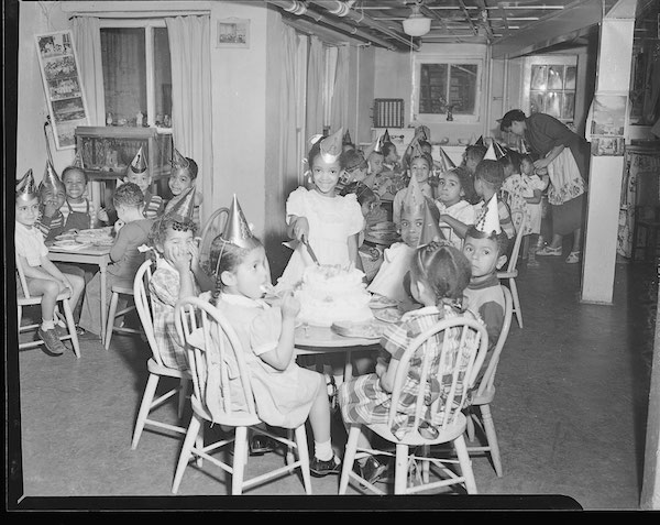 Sharon Jones' birthday party at Mrs. Howard's Nursery School, March 1949. More about this photo.