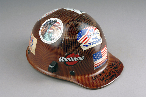 September 11, 2001 Iron Worker Clean-Up Crew Hard Hat, World Trade Center.